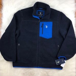 US Polo Assn Men's Faux Sherpa Full Zip Jacket